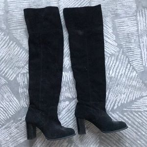 Schutz over knee boot fold over leather